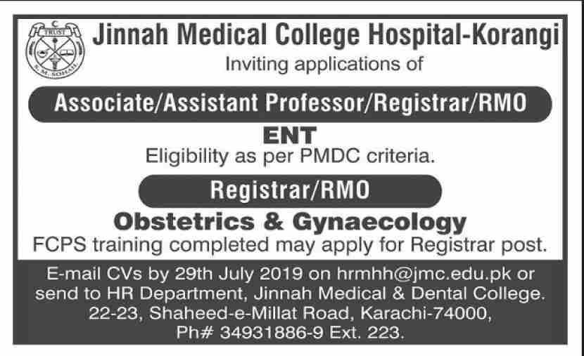 Jobs In Jinnah Medical College Hospital 22 Jul 2019