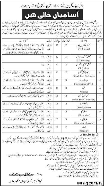 20 New Jobs in Nawaz Sharif Kidney Hospital 01 July 2019