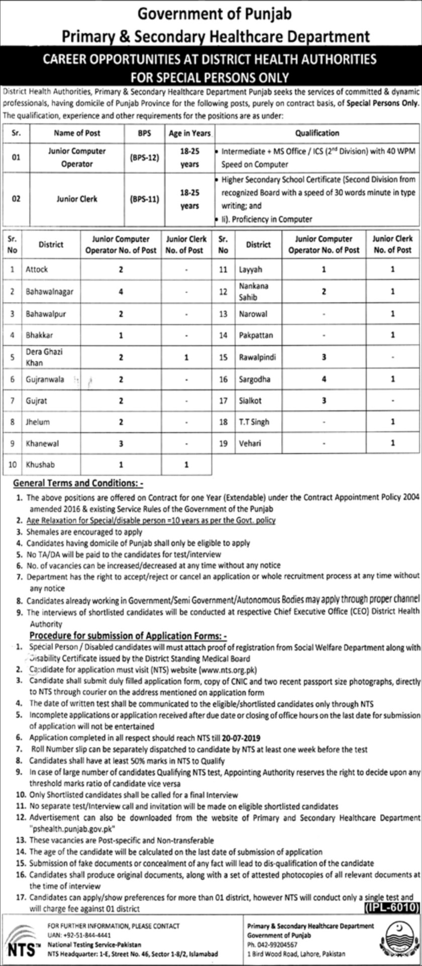 NTS Jobs In Primary And Secondary Healthcare Department 13 Jul 2019