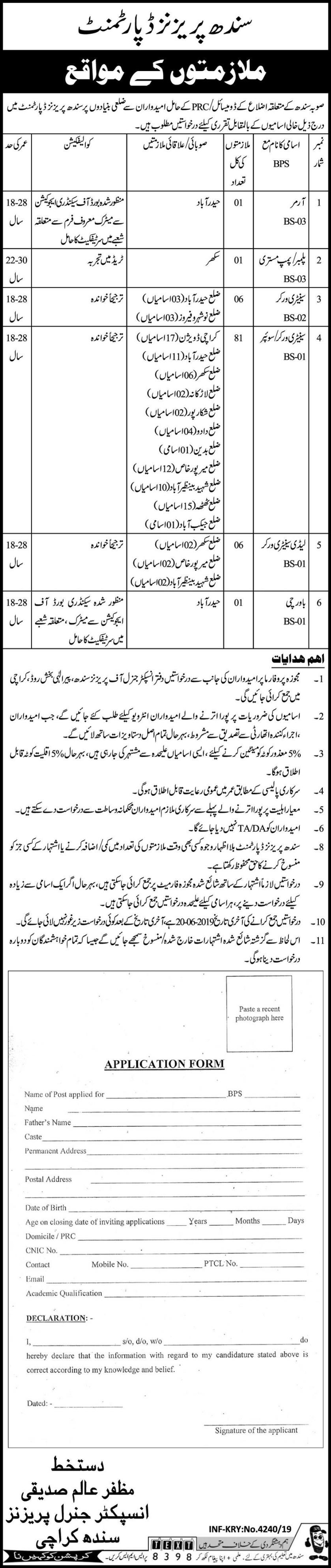 Jobs In Sindh Prisons Department 01 Aug 2019