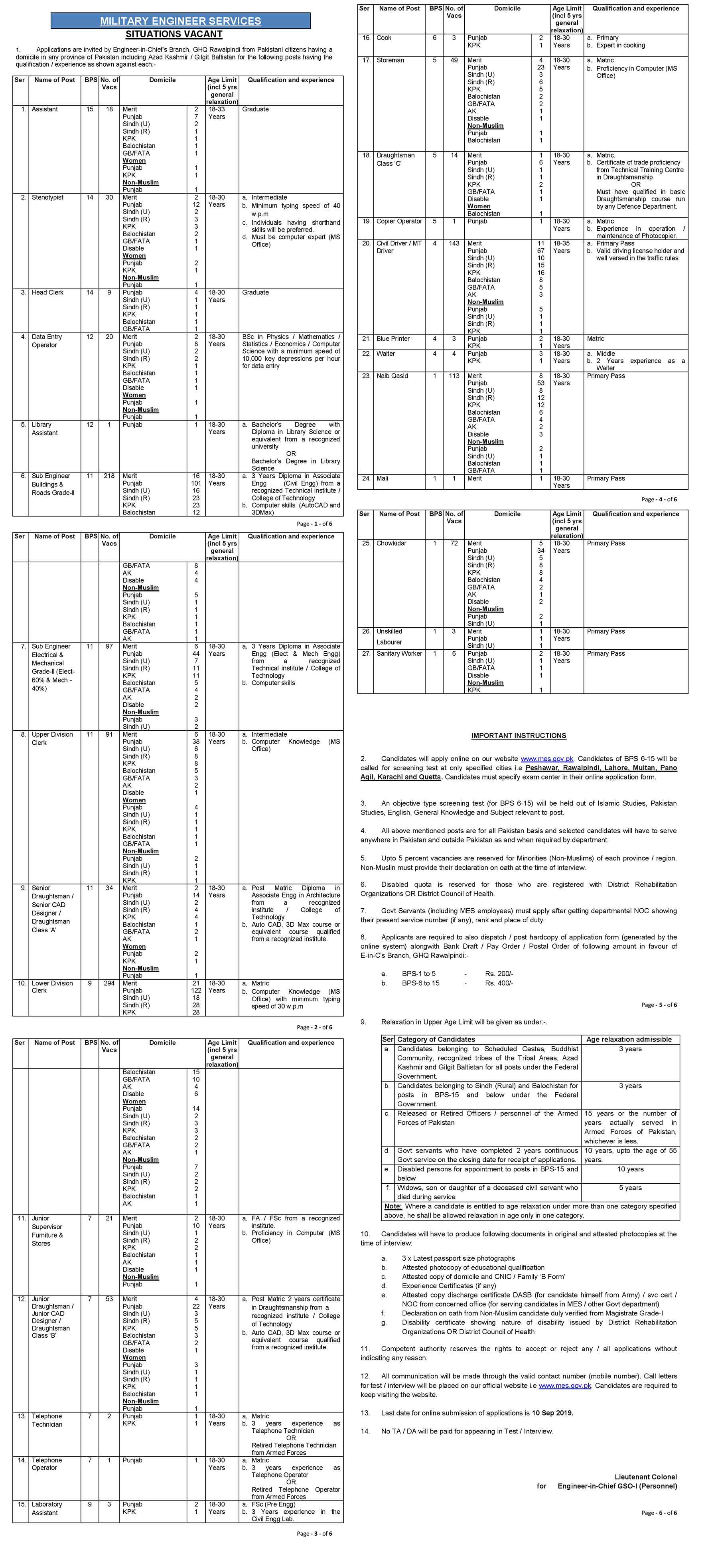 Jobs In Military Engineer Services Pakistan MES 01 Sep 2019