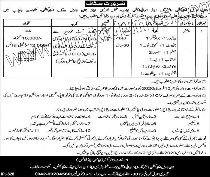 Monitor Jobs 2020 in Literacy & Non Formal Basic Education