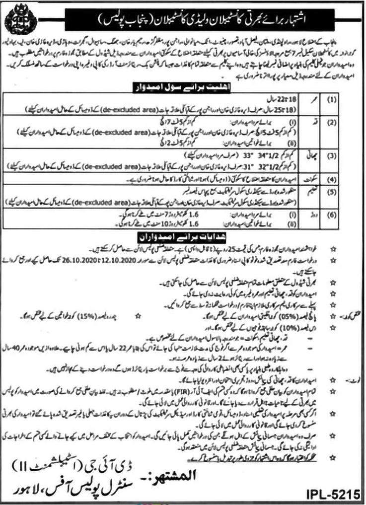 Constable Jobs 2020 in Punjab Police in Multiple Cities