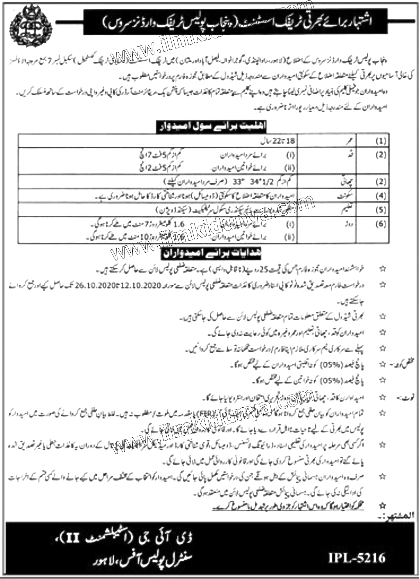 Traffic Wardens Jobs 2020 in Punjab Police in Multiple Cities