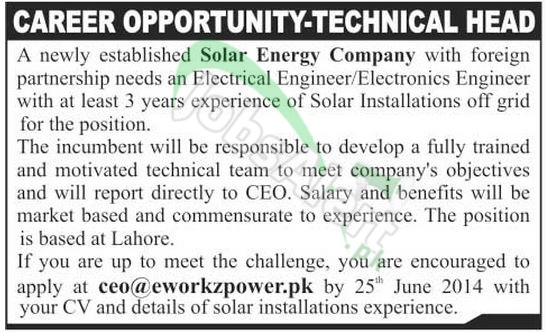 Solar Energy Company Pakistan Jobs 2014 for Electrical