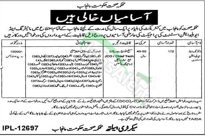 Health Department Punjab Jobs 2014 for Monitoring