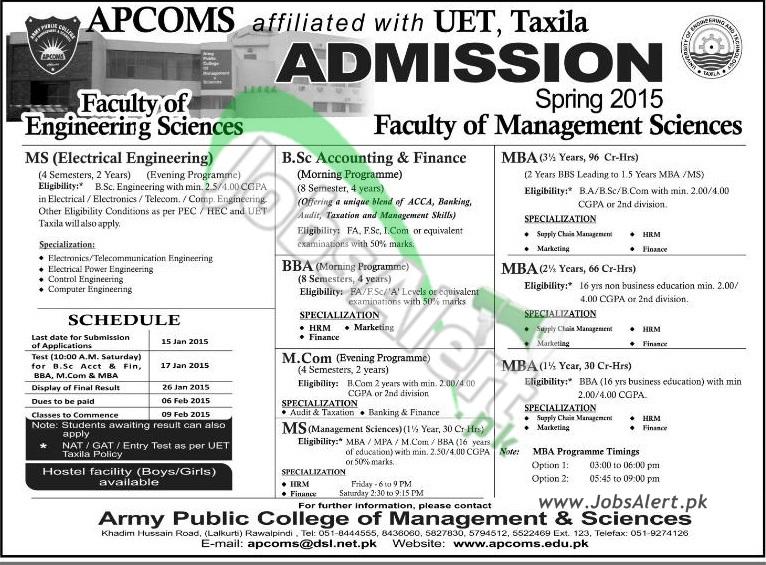 APCOMS UET Taxila Admission Spring 2015 MBA, M.Com, MS