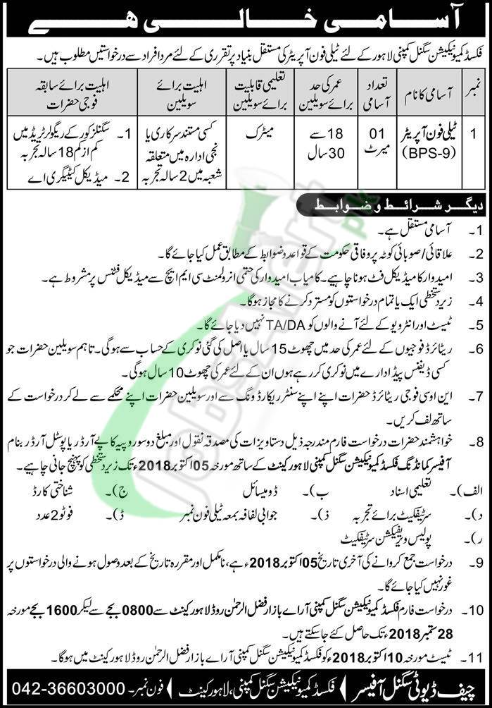 Fixed Communication Signal Company Lahore Jobs 2018 Latest