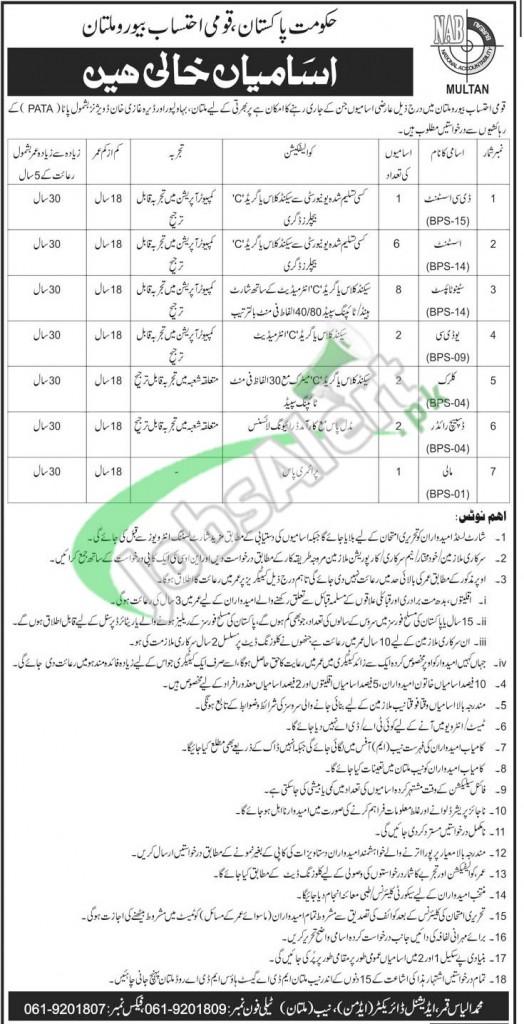 National Accountability Bureau NAB Pakistan Jobs 2015 BPS