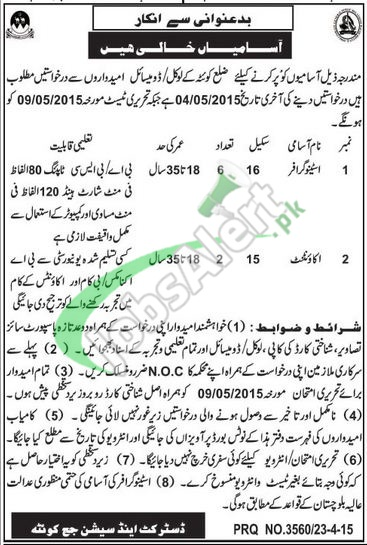 Jobs 2015 in District and Session Court Quetta