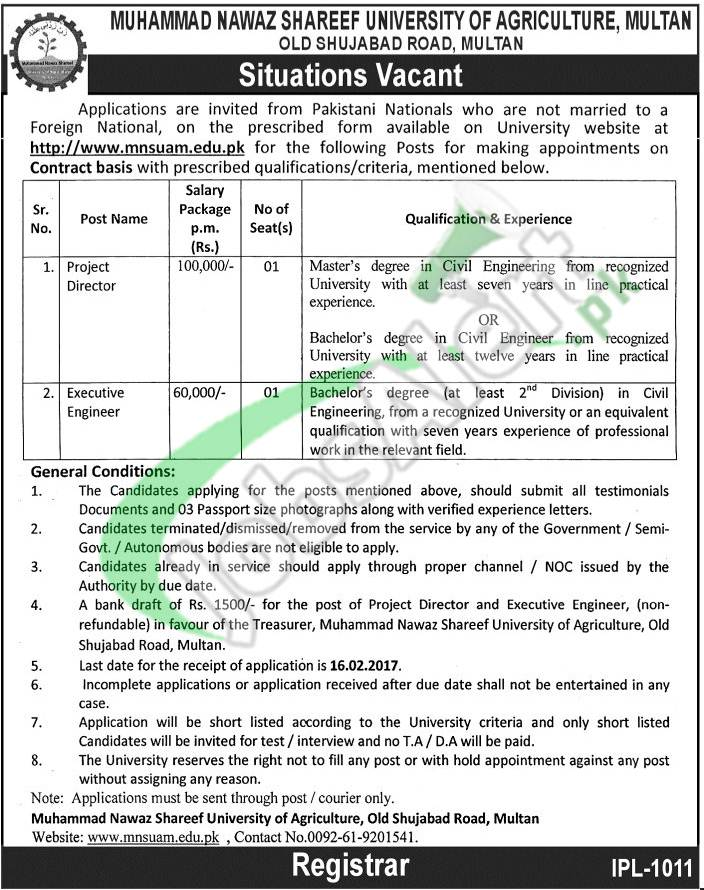 MNSUAM Jobs Application Form 2017 Nawaz Sharif University