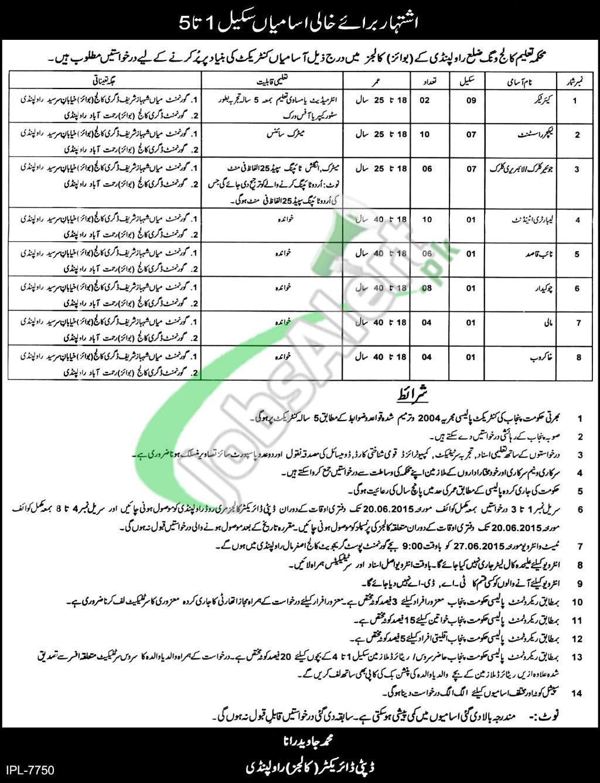 Jobs in Education Department Punjab 2015 Rawalpindi District