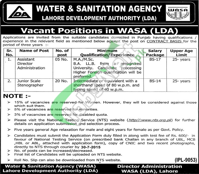 WASA LDA Lahore Jobs 2015 NTS Application Form & Sample