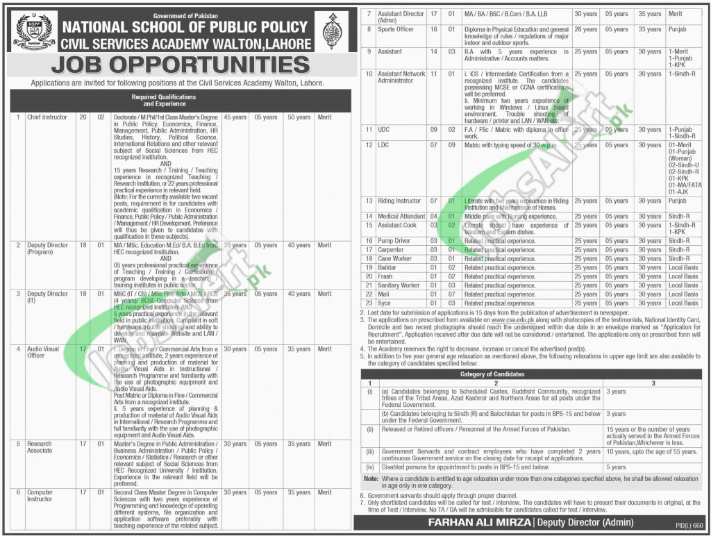 Civil Services Academy Lahore Jobs 2015 Application Form