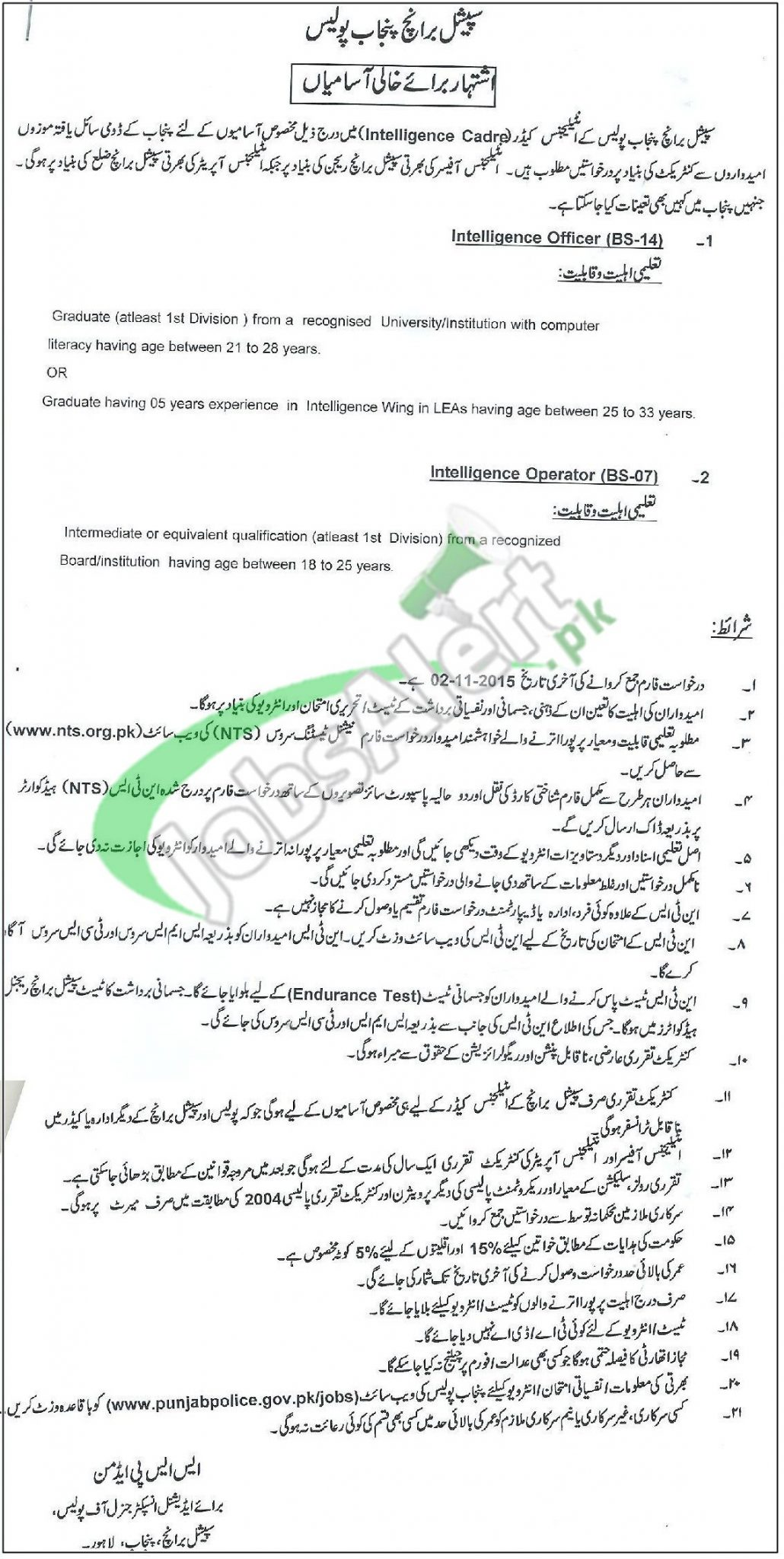 Special Branch Punjab Police NTS Jobs October 2015