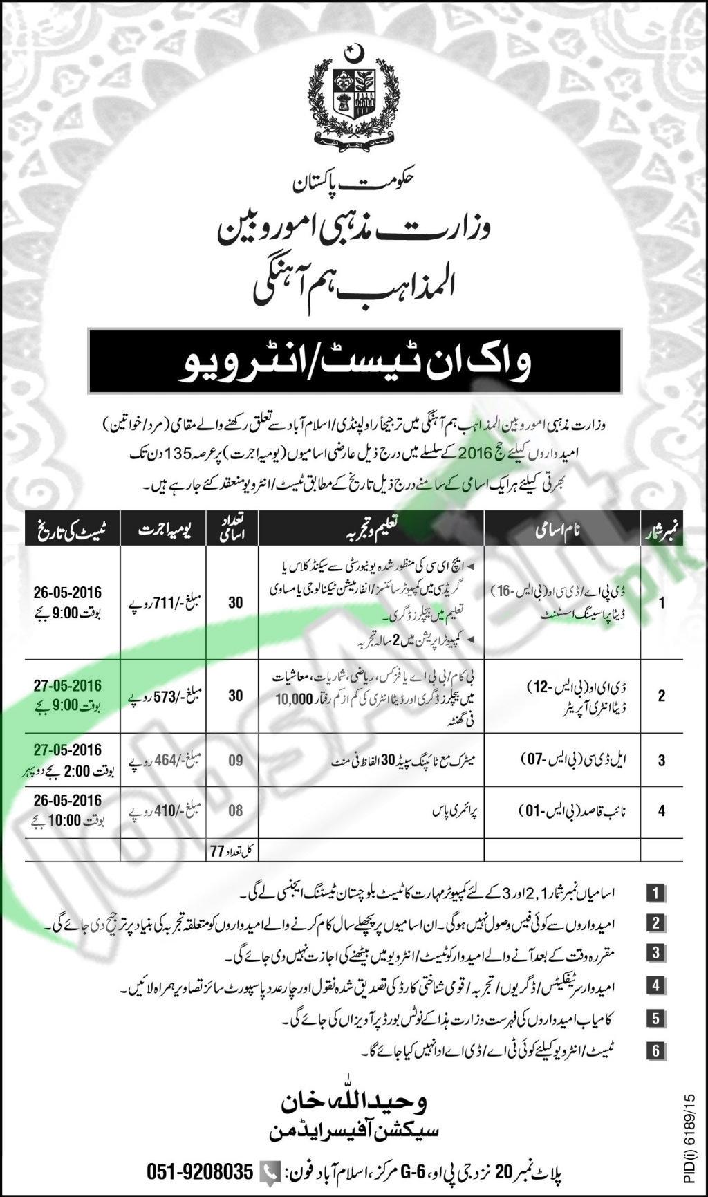 Jobs in Ministry of Religious Affairs Islamabad Rawalpindi
