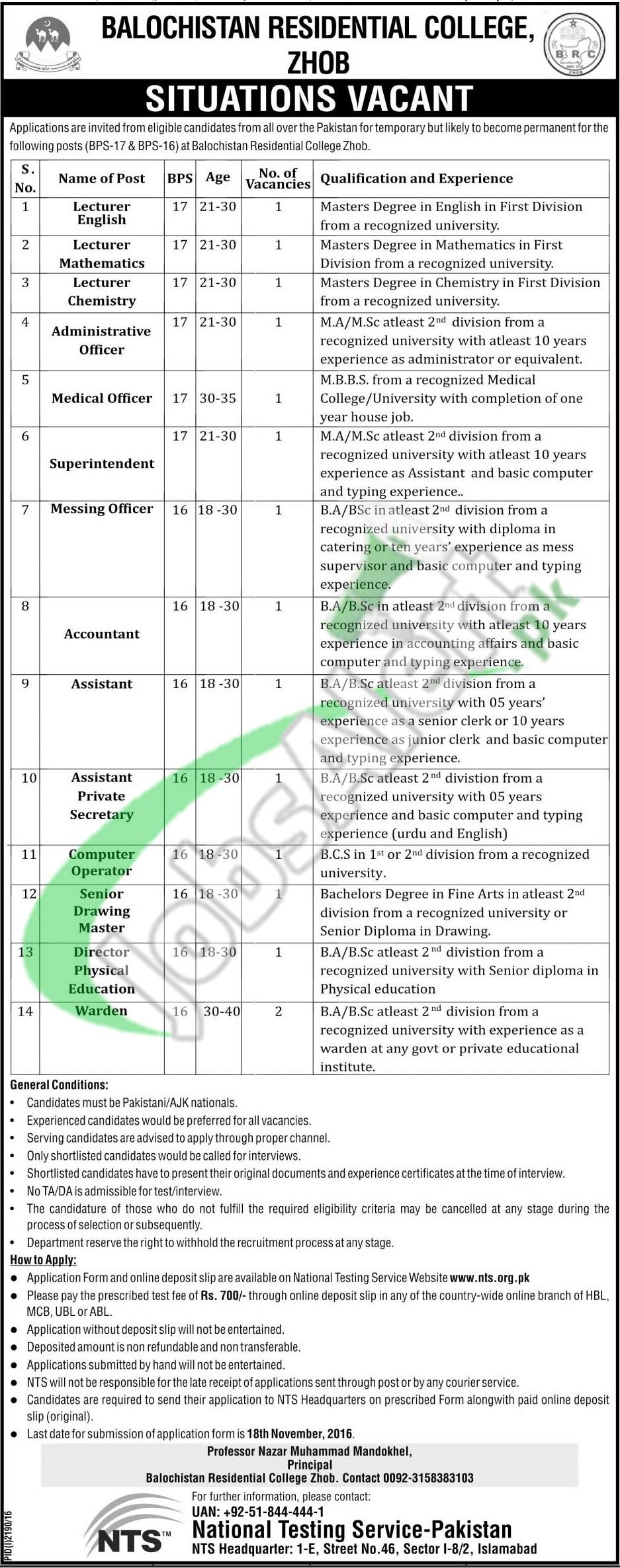 NTS BRC Zhob Jobs 2016 Balochistan Residential College Latest