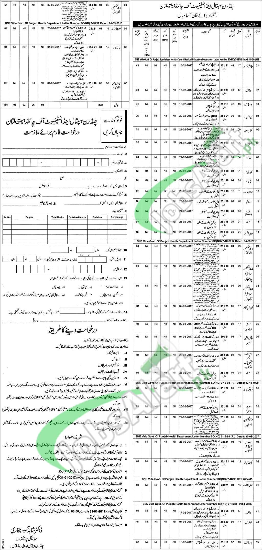 Children Hospital Multan Jobs 2017 Application Form Download