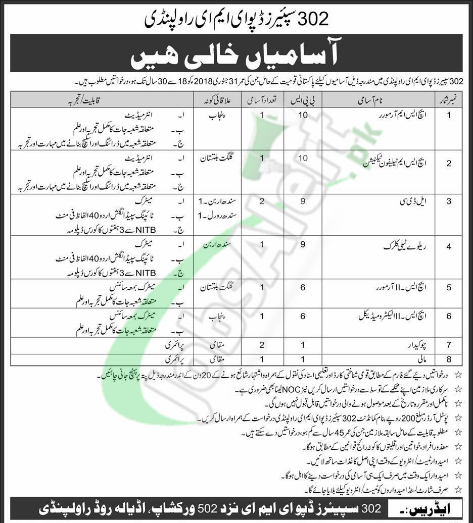 302 Spares Depot EME Application Form 2017 Jobs in Pak