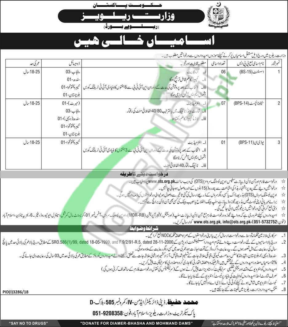 Apply in Ministry of Railway Jobs 2019 OTS Application