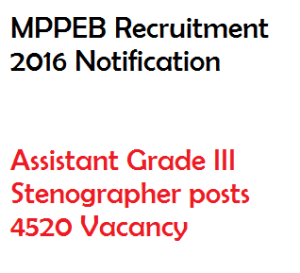 mppeb recruitment notification 2016 vacancy mpvyapam assistant stenographer 4520 vacancy grade III