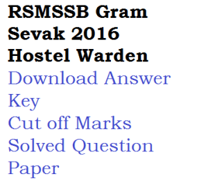 rsmssb rajasthan answer key download 2016 gram sevak hostel warden superintendent gr iii solved question paper cut off marks