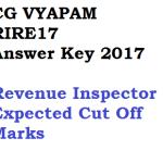 CG Vyapam RIRE Answer Key Revenue Inspector Exam Cut Off