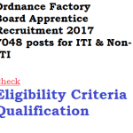 Ordnance Factory Board Apprentice Recruitment 2018 OFB 7048 Vacancy