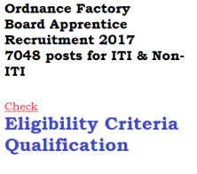 ordnance factory board ofb apprentice ship recruitment vacancy eligibility criteria 2017 7048 posts trained notification apply online