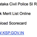 Karnataka Police SI Result 2018 Merit List Publishing Date Sub Inspector