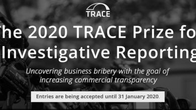 Photo of TRACE Prize 2020 for Investigative Reporting – Uncovering Commercial Bribery (win cash prize of $10,000 USD)