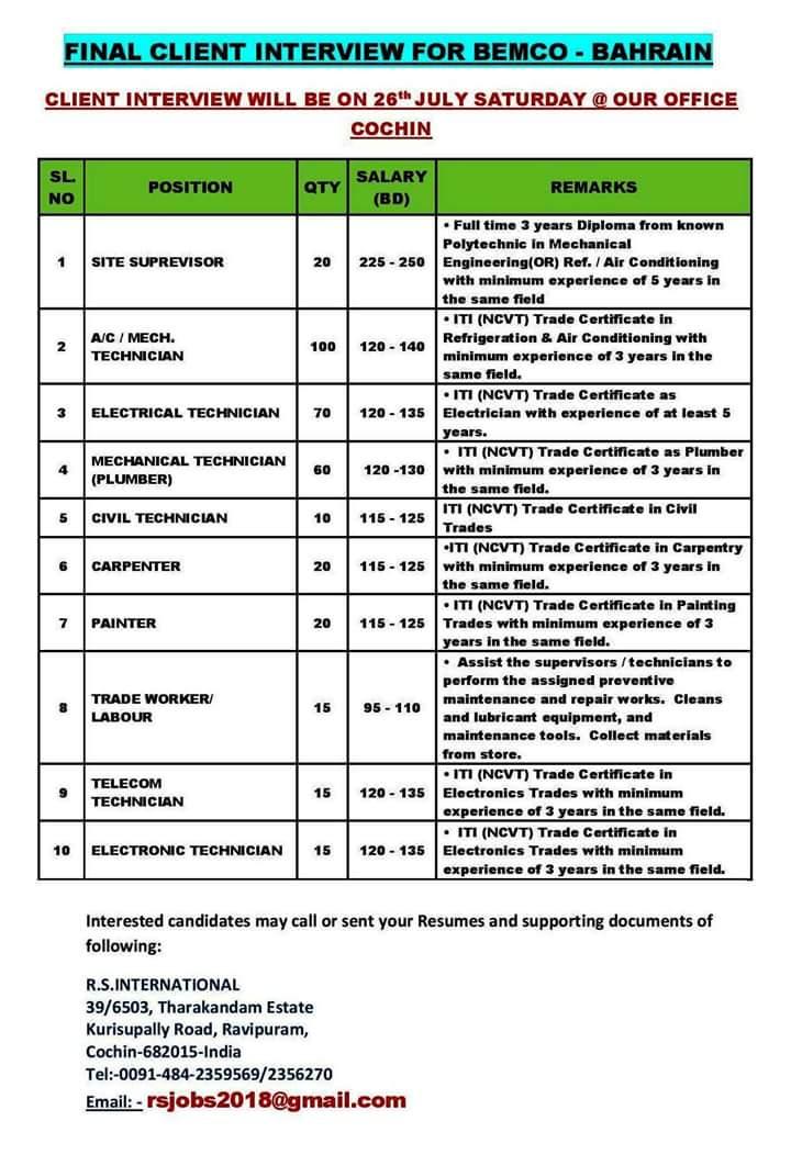 Gulf vacancies in kochi