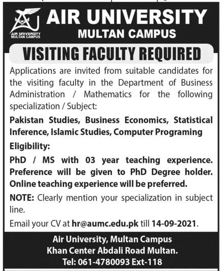 Air University AU Islamabad Jobs 2021 Latest - www.au.edu.pk