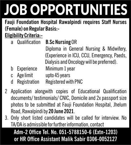 Fauji Foundation Hospital Rawalpindi Jobs 2021 - Staff Nurses Jobs