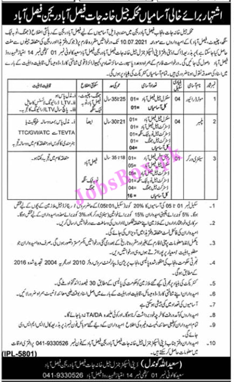 Jail Khana Jat Faisalabad Region Jobs 2021