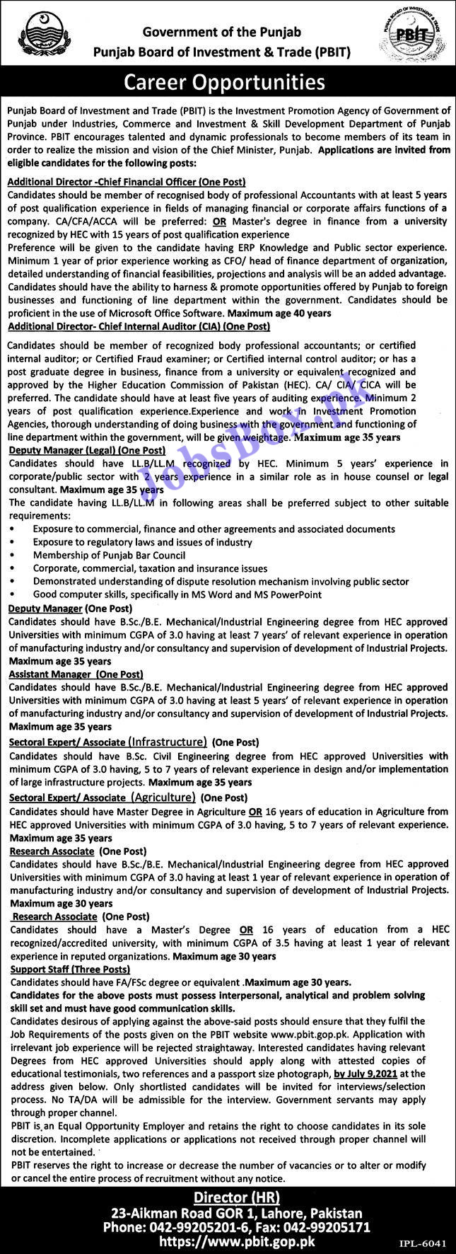 Punjab Board of Investment and Trade PBIT Jobs 2021