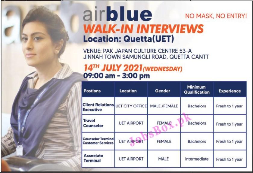 Airblue Quetta Jobs 2021 - Male & Female Staff Required