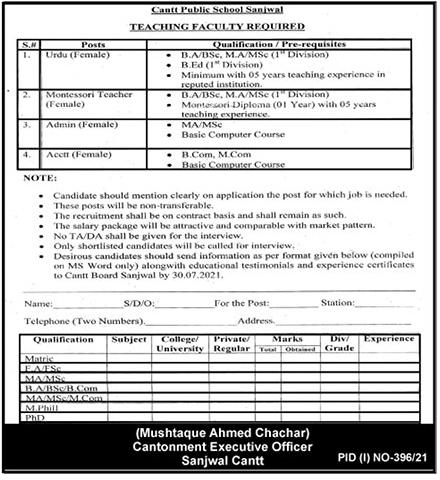 Cantt Public School Sanjwal Jobs 2021 - Teaching Faculty Jobs