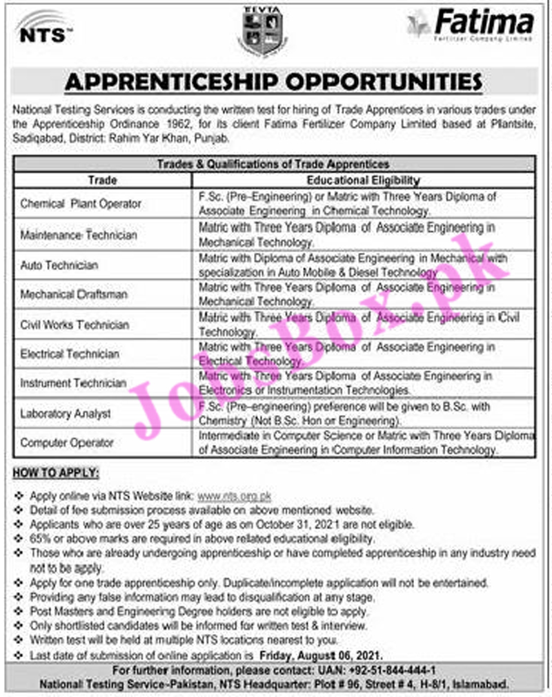 Fatima Fertilizer Company Apprenticeship Jobs 2021 - Apply via NTS
