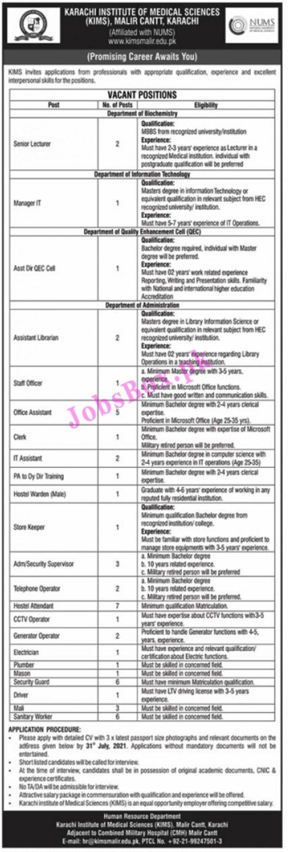 Karachi Institute of Medical Sciences KIMS Jobs 2021 - www.kimsmalir.edu.pk