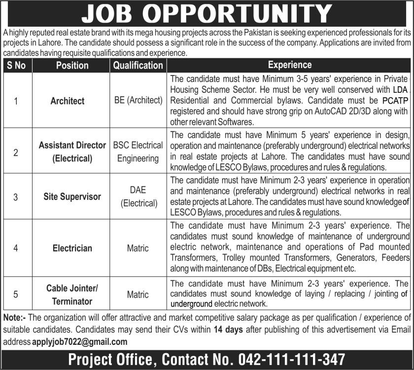 Public Sector Organization Lahore Jobs 2021 - Real Estate Brand Jobs
