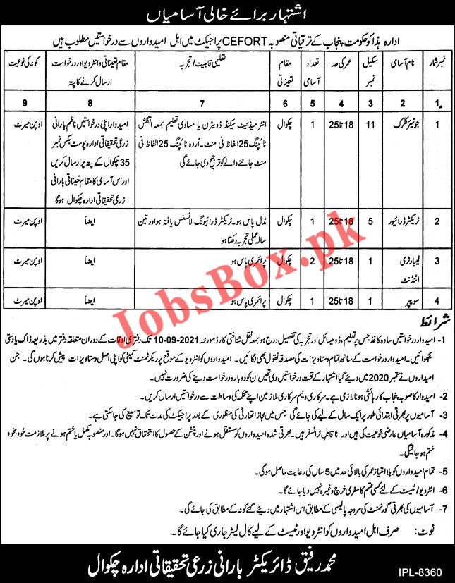 Barani Agricultural Research Institute Chakwal Jobs 2021