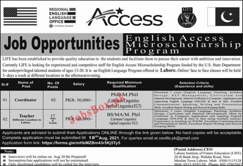 Lahore Institute of Future Education LIFE Jobs 2021