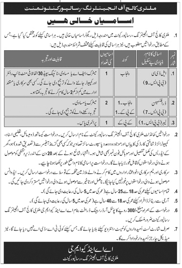 Military College of Engineering Risalpur Cantt Jobs 2021 Latest