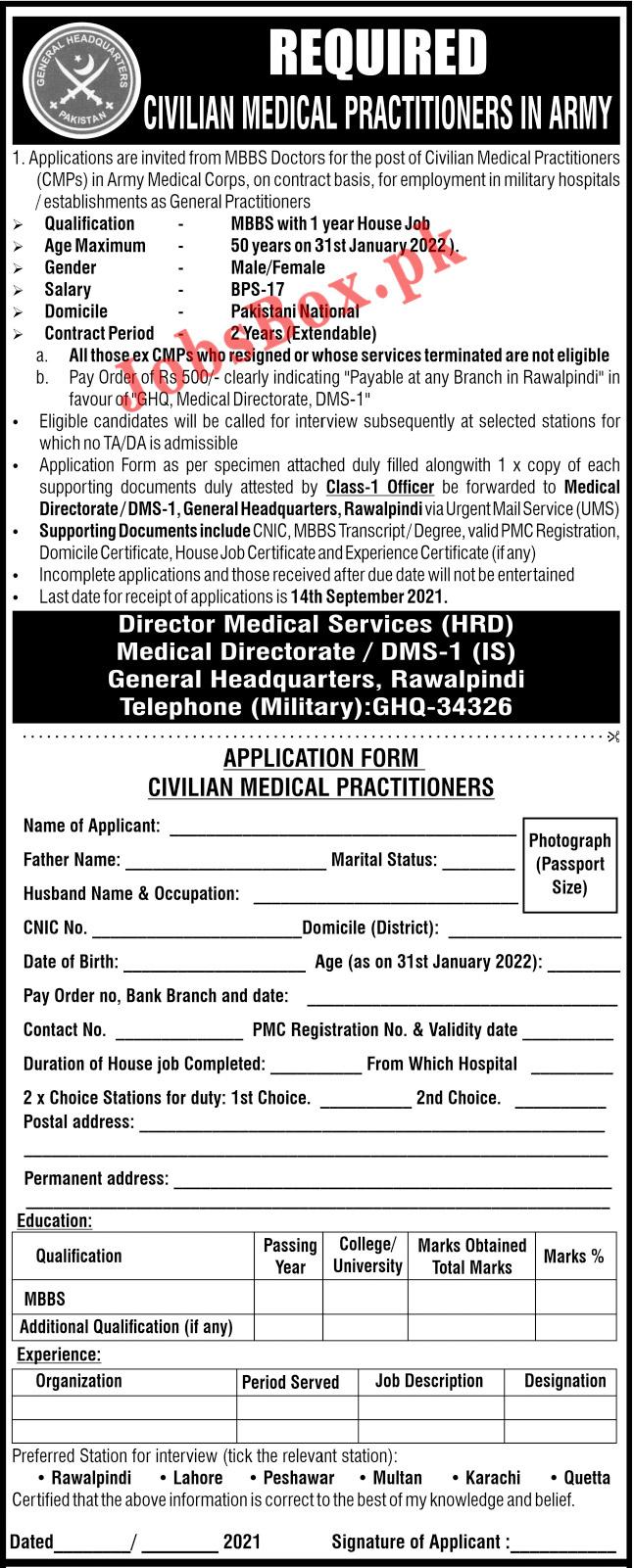 Pakistan Army Civilian Medical Practitioner Jobs 2021