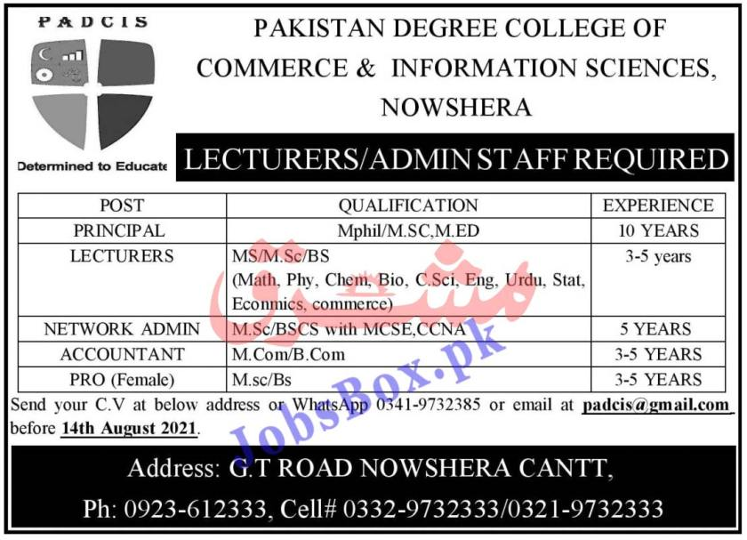 Pakistan Degree College of Commerce & Information Science Jobs 2021