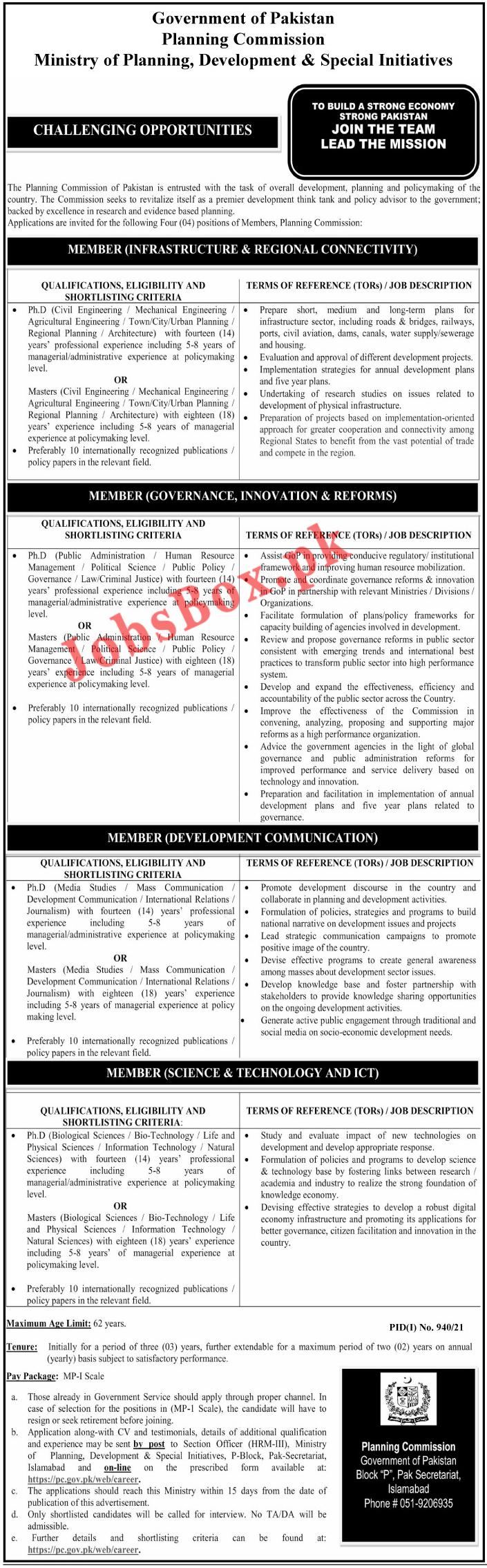 Planning Commission of Pakistan PC Jobs 2021 - www.pc.gov.pk