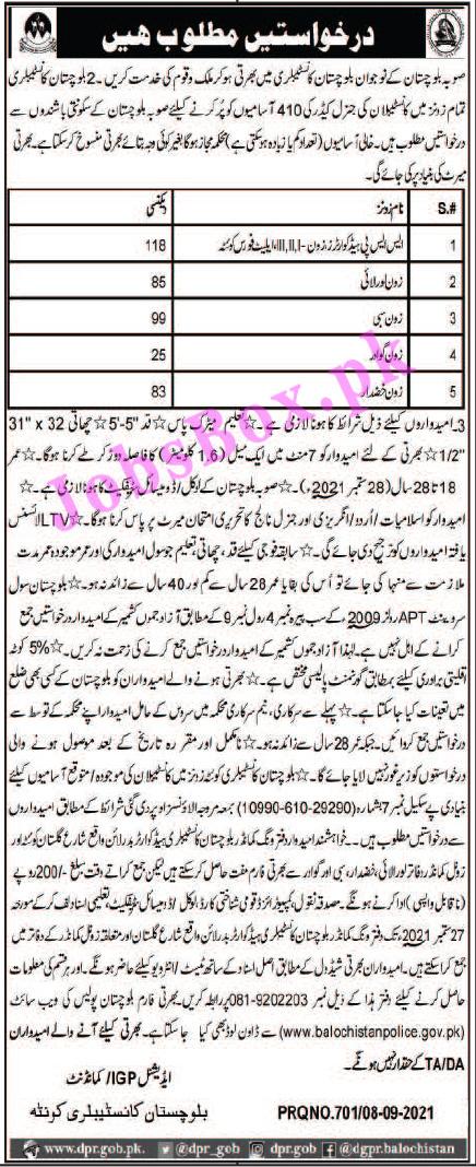 Balochistan Police Jobs 2021 - Balochistan Constabulary Jobs