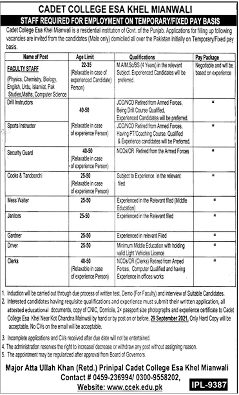 Cadet College Esa Khel Mianwali Jobs 2021 Latest Recruitment
