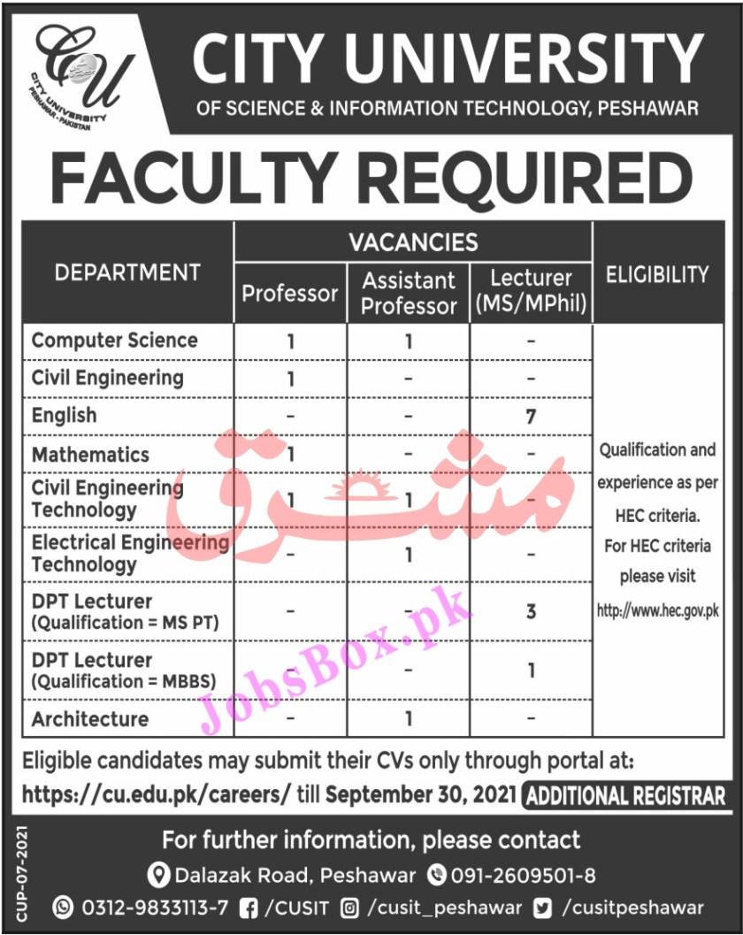 City University of Science & IT Peshawar Jobs 2021